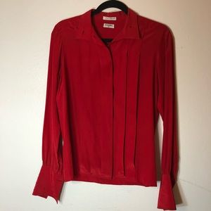 Red Silk Chanel Blouse with Gold Buttons